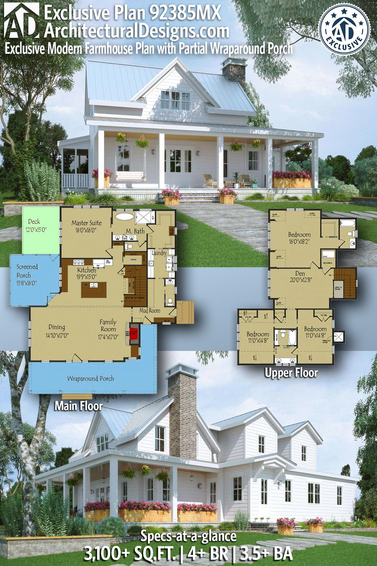 Plan 92385mx Exclusive Modern Farmhouse Plan With Partial