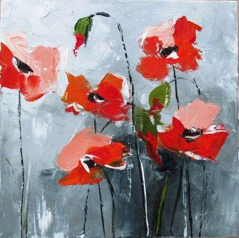 Peinture Florale Coquelicots Huile Au Couteau Le Repentir Du Silence Flower Painting Flower Art Painting
