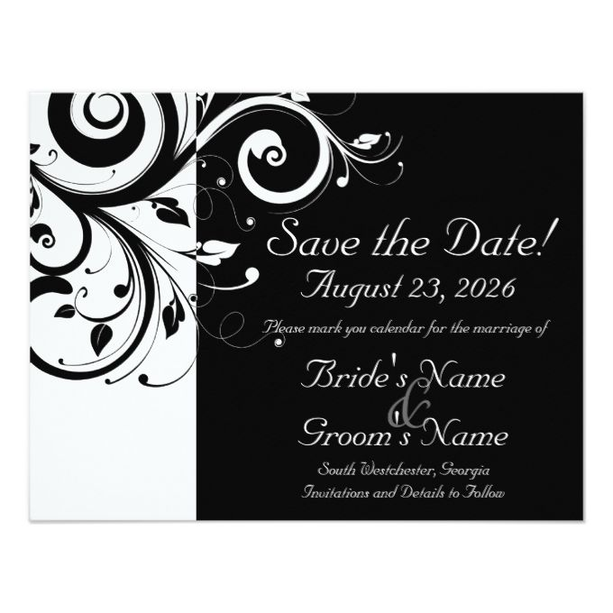 Black White Reverse Swirl Wedding Save The Date Zazzle Com Black And White Theme White Wedding Invitations Traditional Invitation