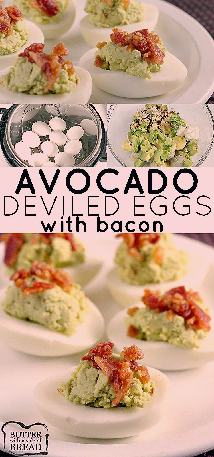 Bacon Avocado Deviled Eggs made with all the classic deviled egg ingredients, plus avocado! Creamy,