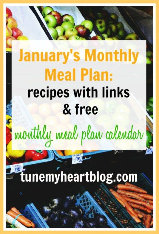 January Monthly Menu Plan - Cheap and Easy Meals Free printable