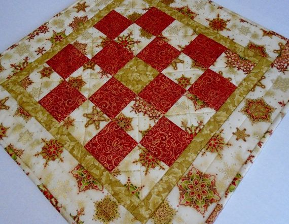 Christmas Quilted Table Topper Elegant by ForgetMeNotQuilteds