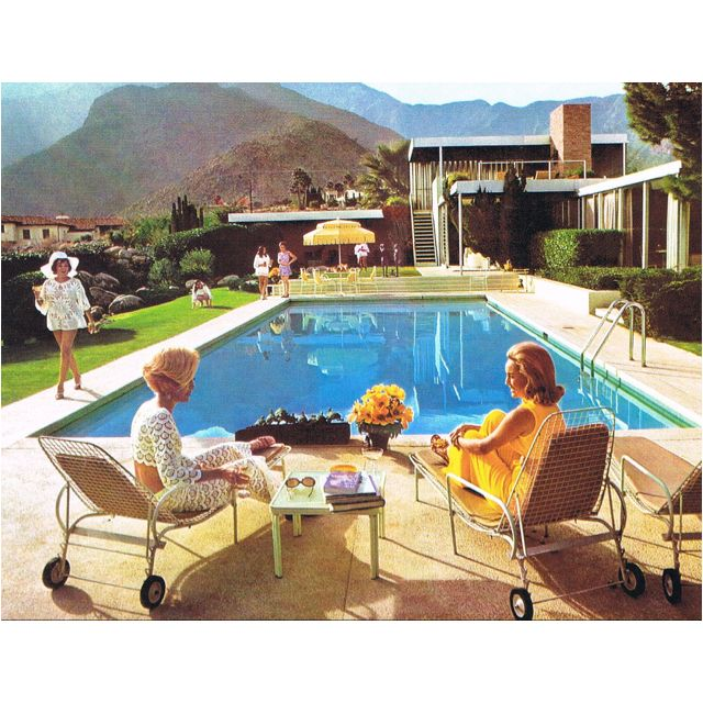 Vintage Palm Springs Style Slim Aarons Pool Umbrellas