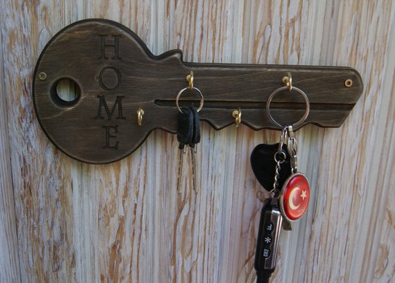 Unique Personalized Wood Key Holder For Wall, Key Rack, Anniversary  Housewarming Gift, Key