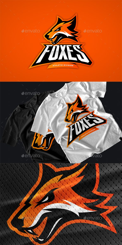 Furious fox sport club vector logo concept. Modern