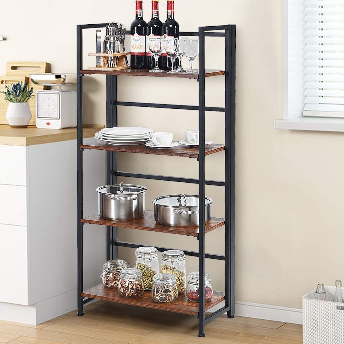 4 Tier Folding Bookshelf Foldable Portable Metal Storage Shelves