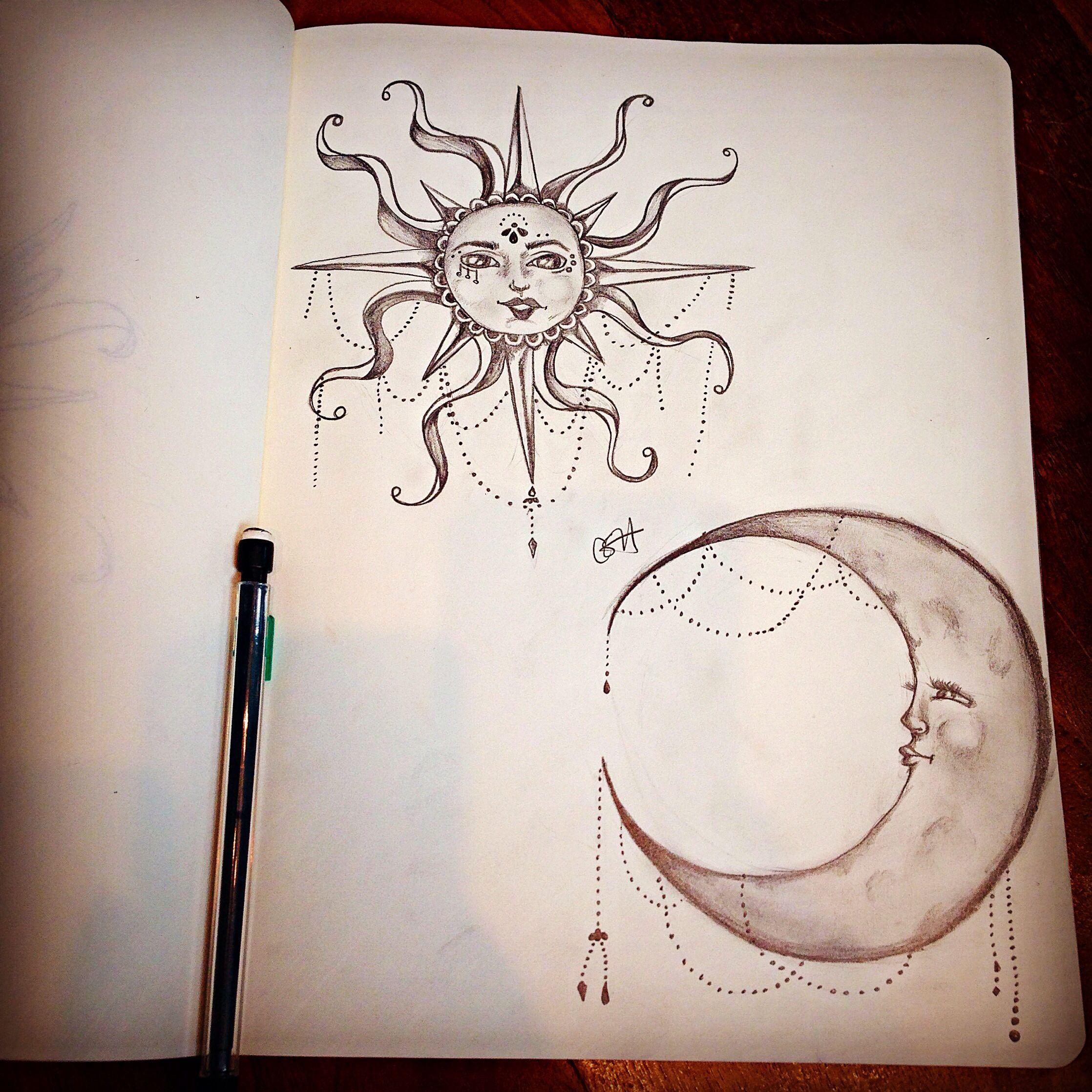 Moon sun pencil drawing