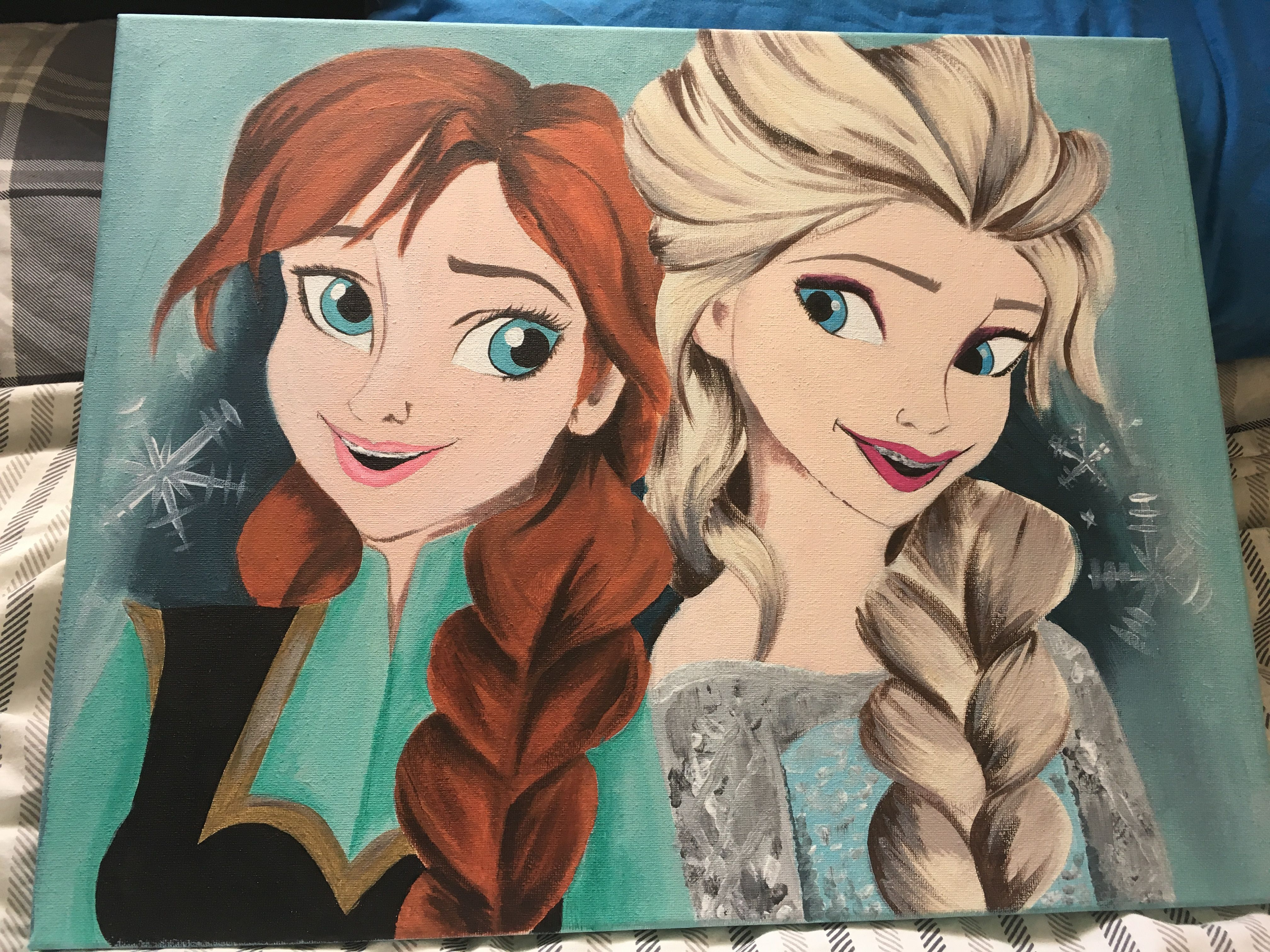 Elsa Anna Acrylic Painting By Me Frozen Characters Frozen Elsa And Anna Character Art