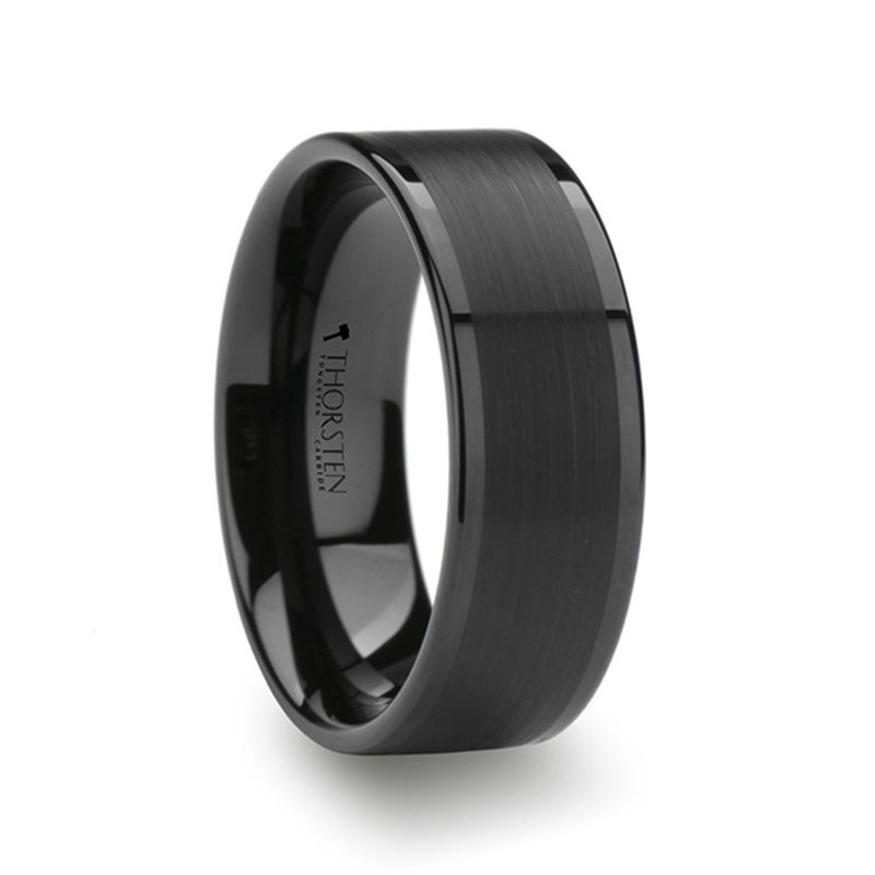 Vulcan Flat Black Tungsten Ring With Brushed Center Polished Edges 4mm 12mm With Images Black Tungsten Rings Black Tungsten Wedding Ring Mens Wedding Rings