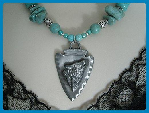 Turquoise Wolf Necklace, handmade jewelry, southwestern, southwest, country western, tribal, ethnic, cowgirl, wedding - Wedding nacklaces (*Amazon Partner-Link)