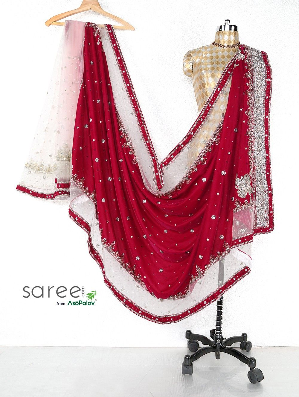 Magenta Velvet Saree with Stone and Cutdana Work
