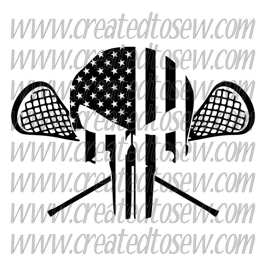 Lacrosse American Flag Punisher One Color SVG File in 2020