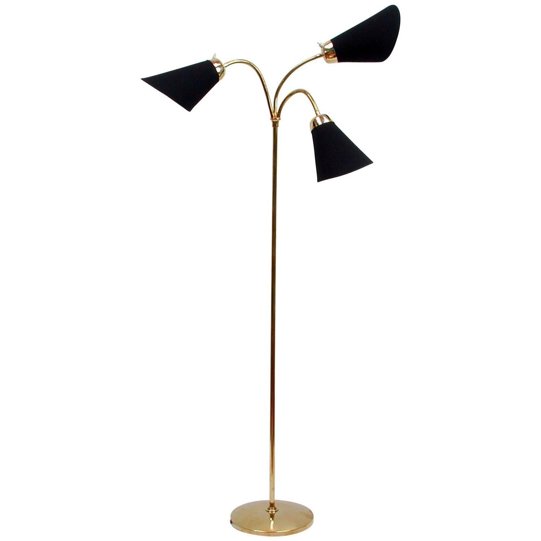 Mid Century Italian Triple Gooseneck Floor Lamp 1950s Gooseneck