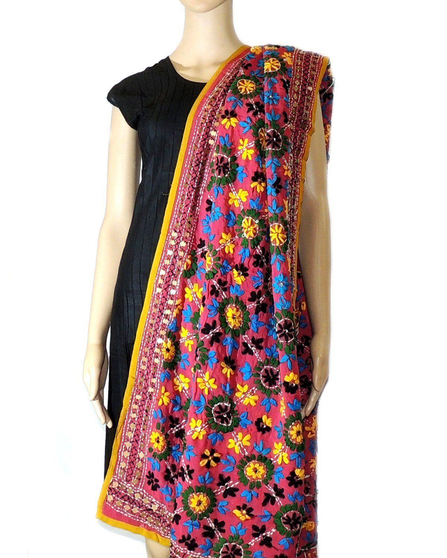 565f20e03e1fad Indian Fashion Guru, Pink, Mirror work stole: Amazon.in: Clothing &  Accessories