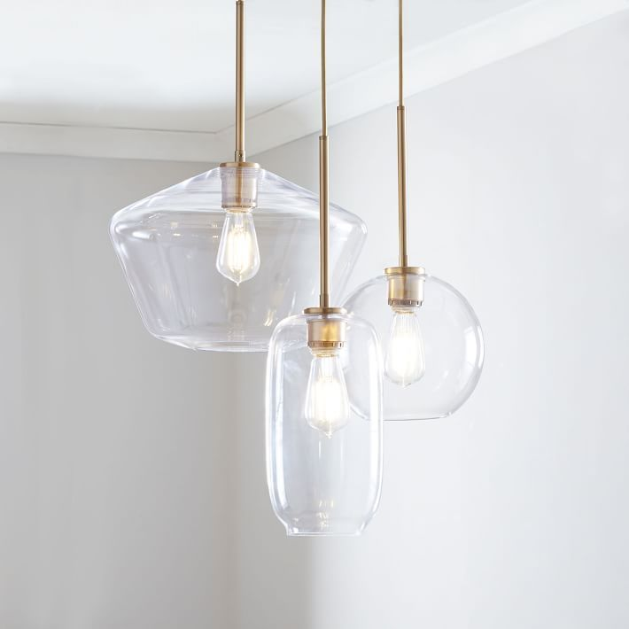 Sculptural Glass 3 Light Round Mixed Chandelier S Globe M Pebble L Geo Clear Shade Brass Canopy