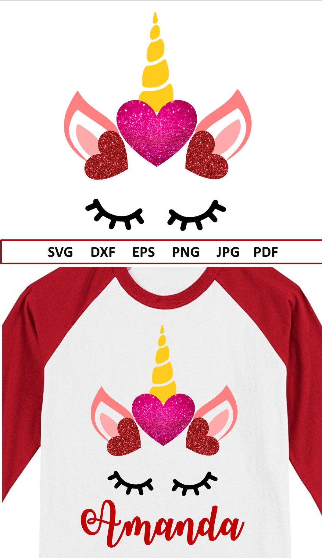 Valentine Unicorn Svg File Unicorn Face Svg Dxf Unicorn Birthday Svg