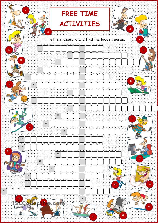 Free Time Activities Crossword Fichas de trabalho, Aulas