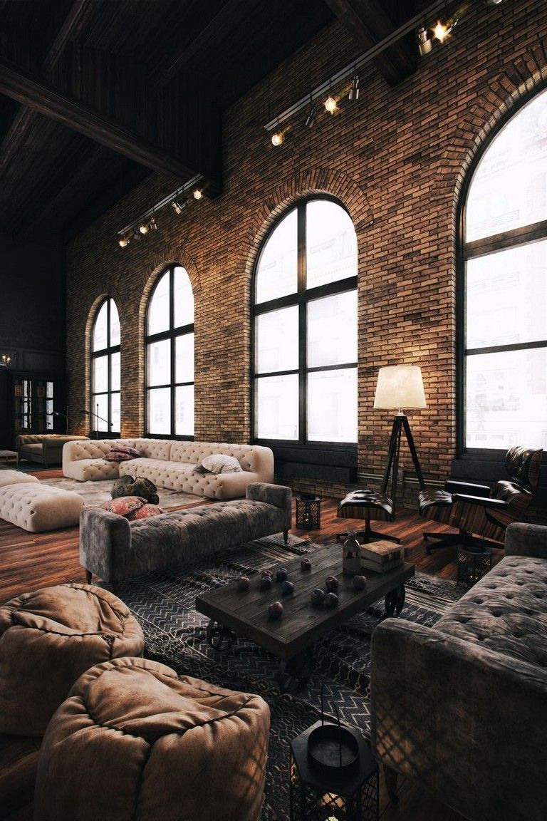 64 Cool Rustic Exposed Brick Wall Ideas For Your Living Room Decor Ideas Walldecorideas Livingroomdecor Loft Living Rustic Living Room Exposed Brick Walls
