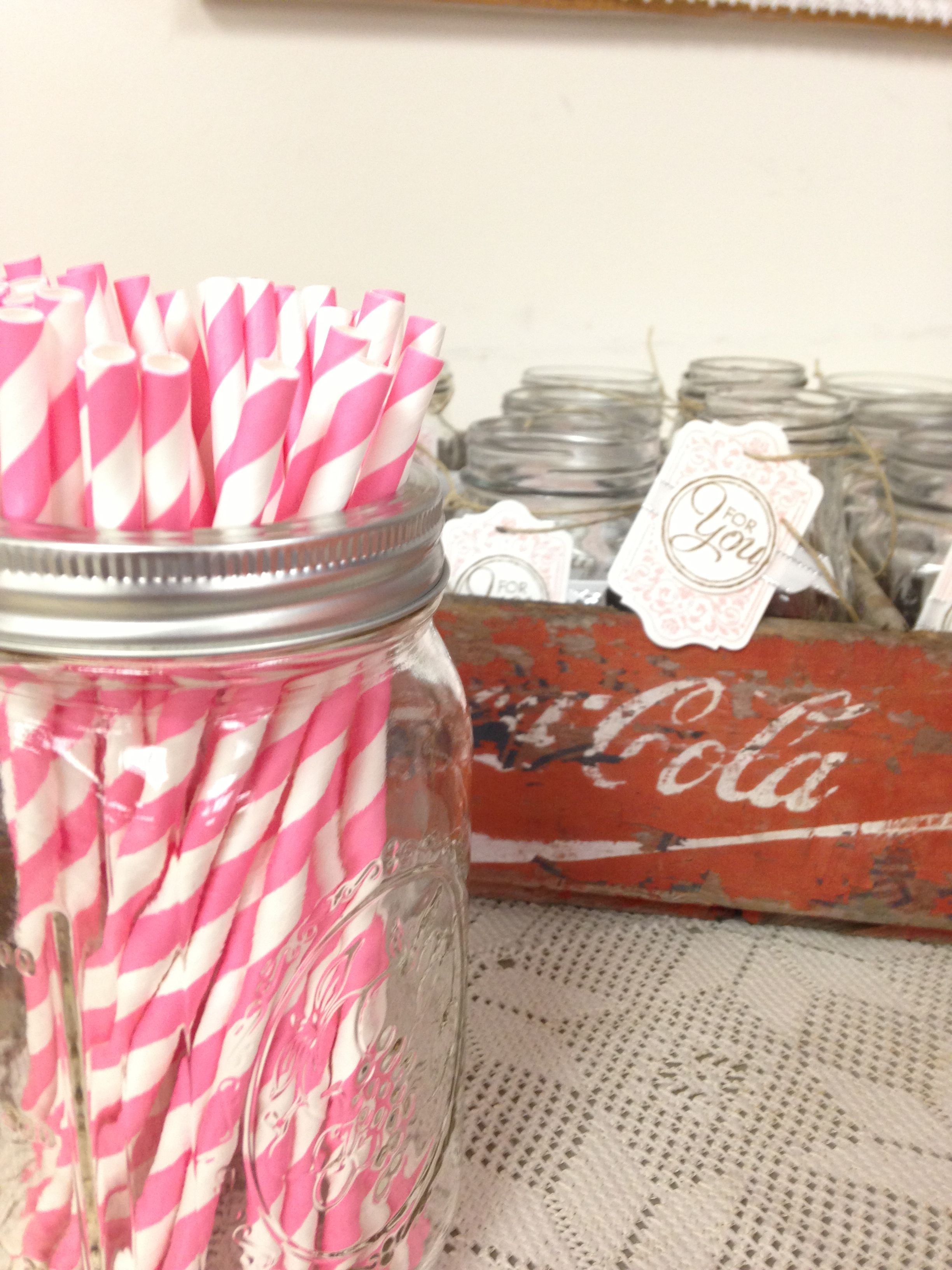 Mason jar glasses for guests to keep with pink and white stripped ...