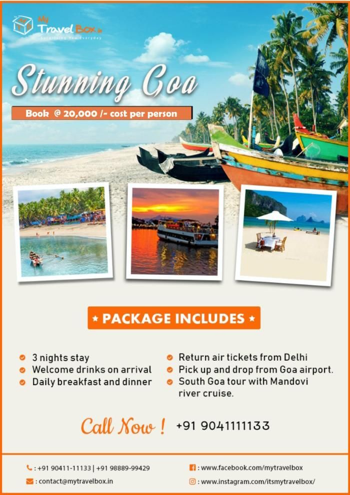 Experience the sun, sea and sand... 🌊🌞🌊 Grab this amazing 3 Nights deal to GOA !!! Have a memorable experience with My Travel Box ! #MTB #mytravelbox #goa #sun #sea #sand #beaches #fun #beachlove #travelholics #travelenthusiasts #traveltogoa