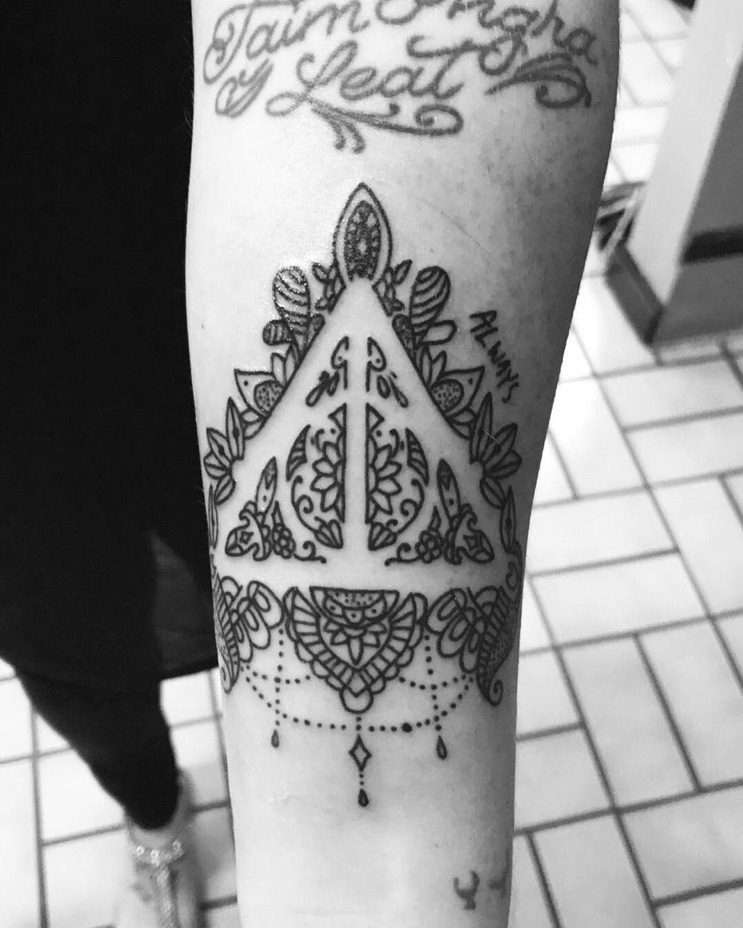 b926e143d Harry Potter tattoo. Deathly hallows. Always. Mandala. Forearm tattoo.