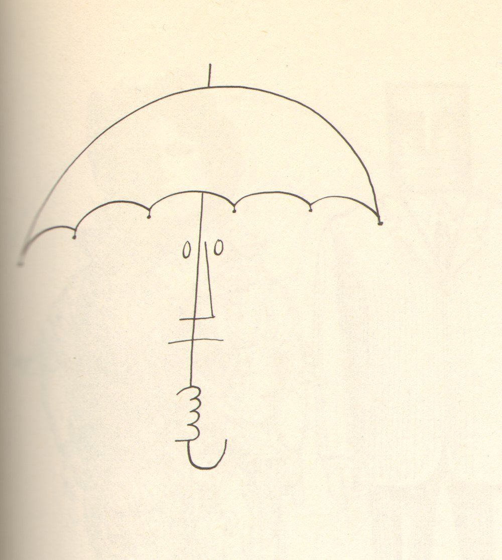 person with umbrella by saul steinberg 1954 capas posters