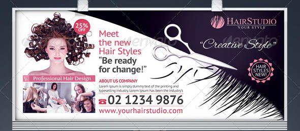 19 Cool Hair Salon Banner Signage Psd Banner Design Hair Salon Banner