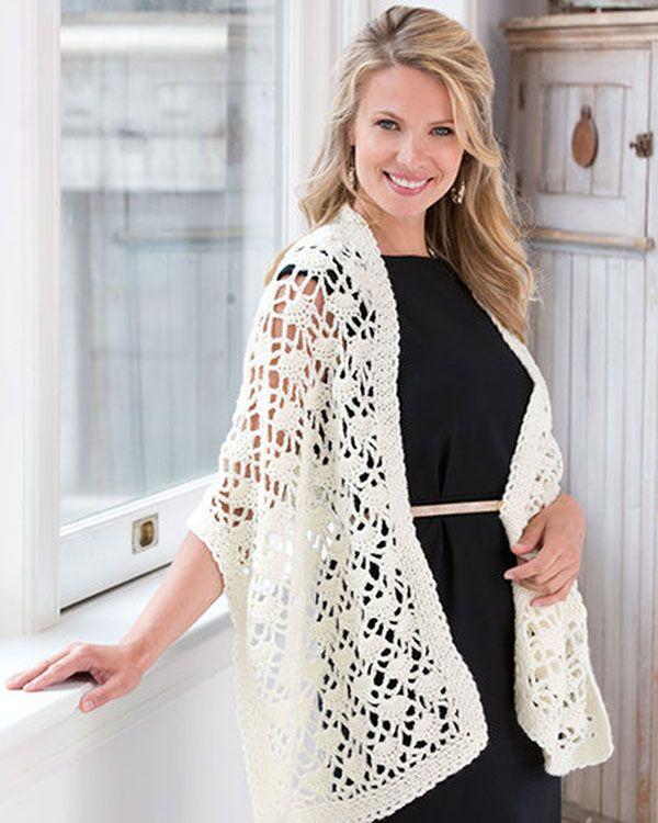 Best Free Crochet » Free Crochet Lacy Wrap Pattern from RedHeart.com ...