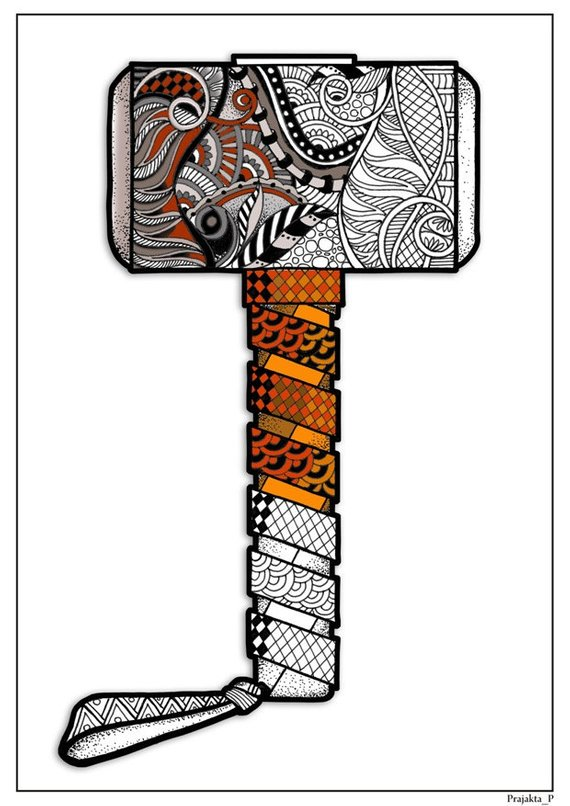 Adult Coloring Page Zentangle Superhero Thors Hammer Coloring