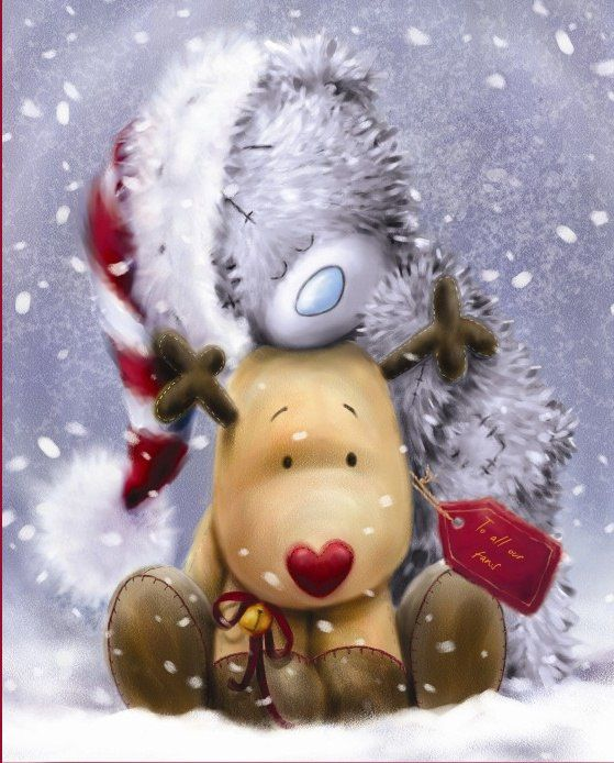 Картинках, открытки с мишками на новый год
