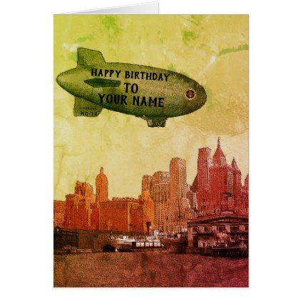 NEW YORK CITY 1930S SKYLINE BLIMP YOUR BIRTHDAY CARD