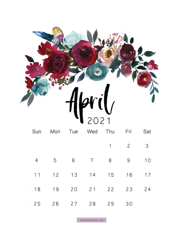 2021 Printable Calendar Floral Watercolor Calendar Letter | Etsy