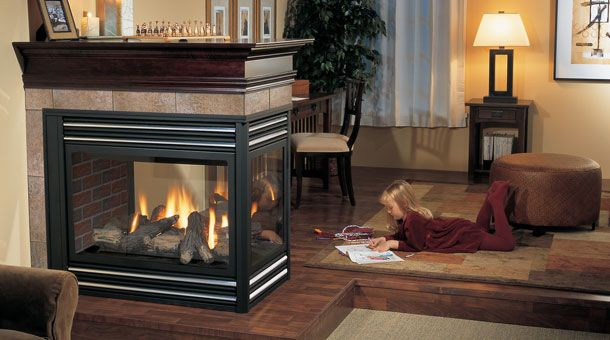 modern cool wonderful nice adorable 3 sided gas fireplace with
