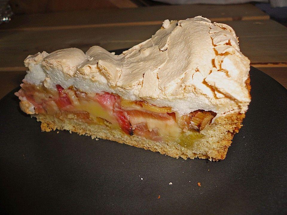 Rhabarberkuchen mit Sahneguss und Baiserhaube von marylou | Chefkoch