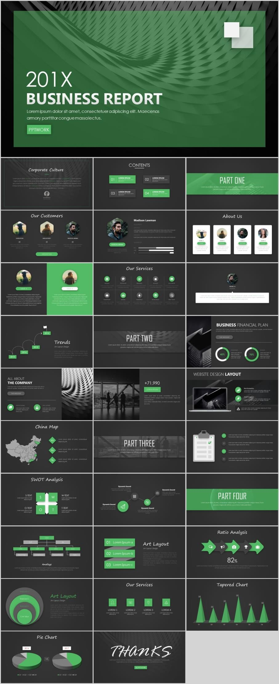 Green Company Business Report Powerpoint Template Green Marketing Powerpoint Design Templates Business Infographic