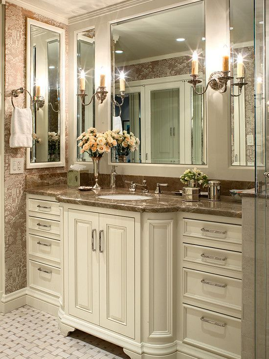 pleasing bathroom vanity options. Classic Bathroom Interior Involving Brown Wallpaper Covering The Wall To  Hit Off White Vanities pleasing interior design nice mirror Custom Vanity With Bump Out And Furnitur Design Pictures Remodel