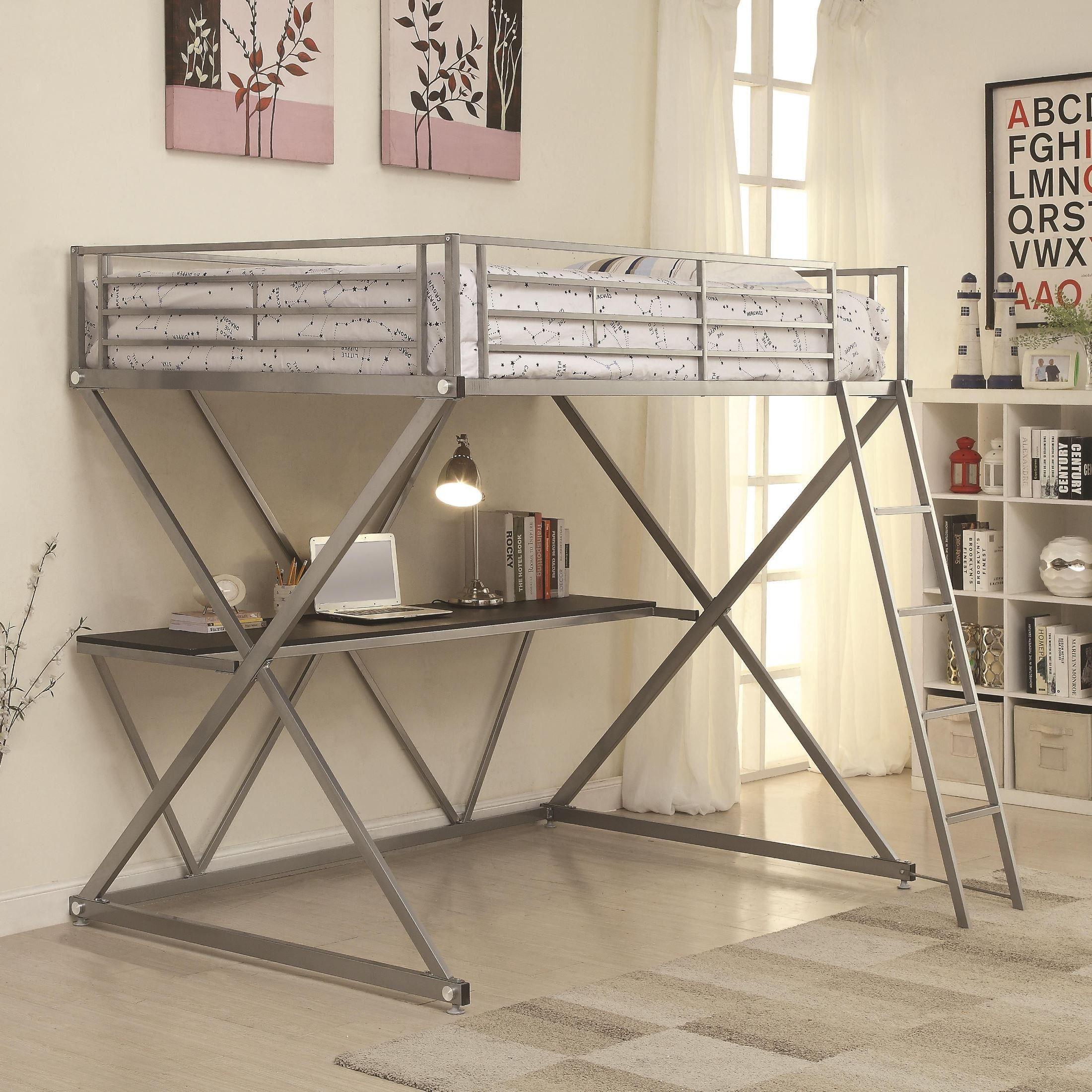 Twin loft bed dimensions  Interesting Loft Bed Metal With Desk  loft bed  Pinterest  Lofts
