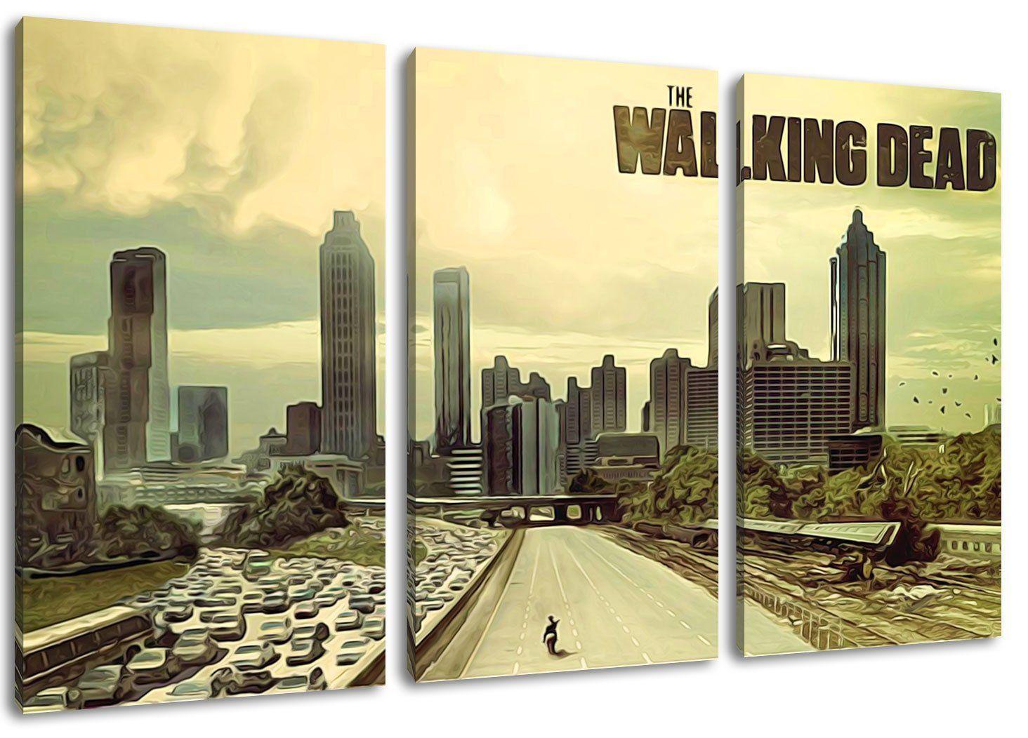 The Walking Dead Motiv, 3-teilig auf Leinwand (Gesamtformat: 120x80 ...