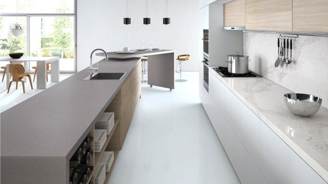 Interiors Addictu0027s Guide To Designing A Modern Kitchen Caesarstoneu0027s Online  Visualiser Showing A Kitchen With Sleek Concrete And Calacatta Nuvo  Benchtops