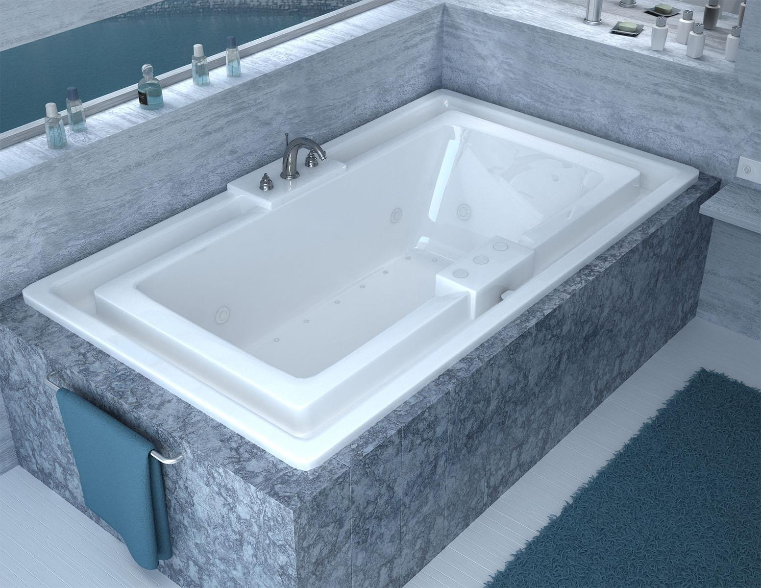 Venzi Celio 46 x 78 Endless Flow Soaking Bathtub with Center Drain ...