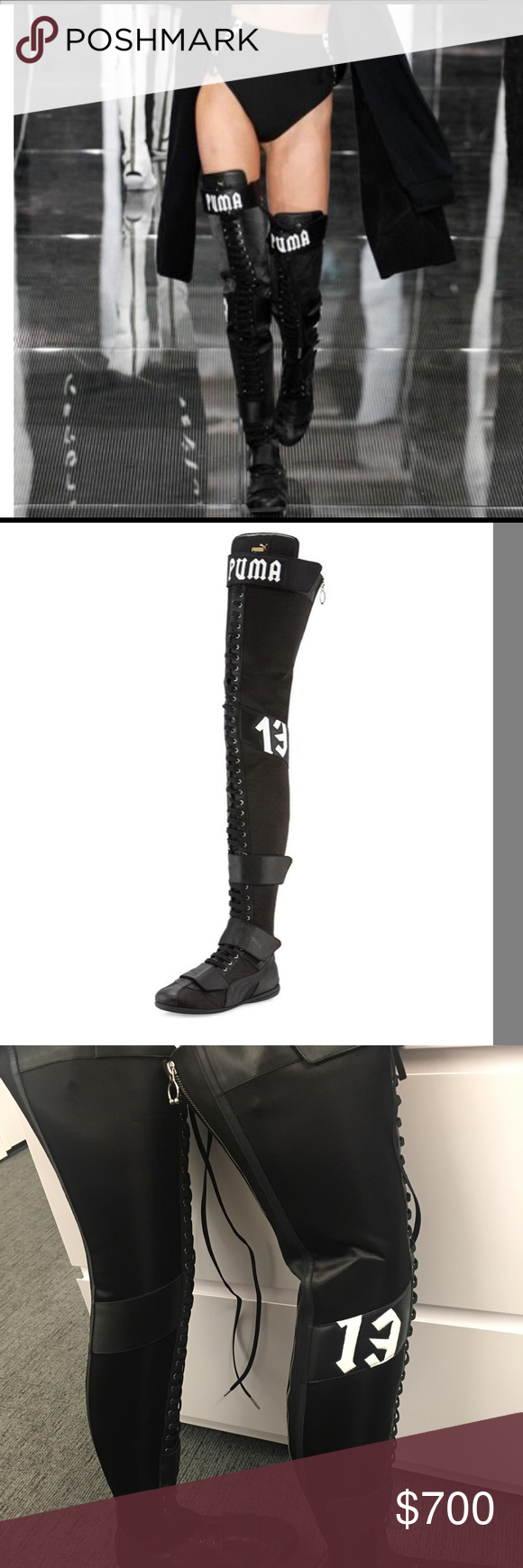 a68f52fa788 FENTY X PUMA Eskiva Over The Knee boots by Rihanna NEVER WORN FENTY PUMA by  Rihanna satin leather boxing boot with leather trim. 0.5