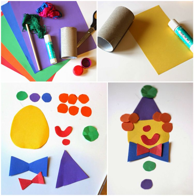 Clown Basteln Klorolle Buntes Tonpapier Basteliedeen Ideas
