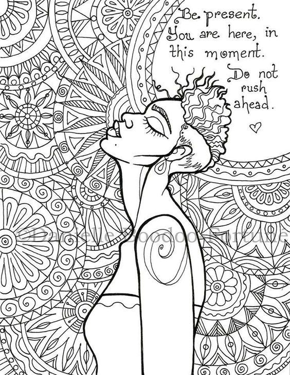 Be present....coloring page   Words Coloring Pages for Adults ...
