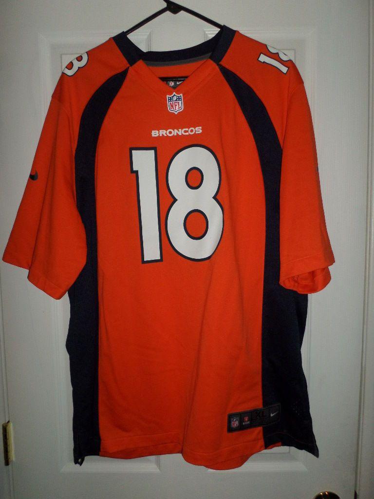 Men's Blue & Orange DENVER BRONCOS NIKE NFL #18 Peyton Manning Jersey Size XL