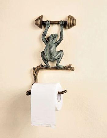 Metal Frog Toilet Paper Or Towel Holder Frog Toilet