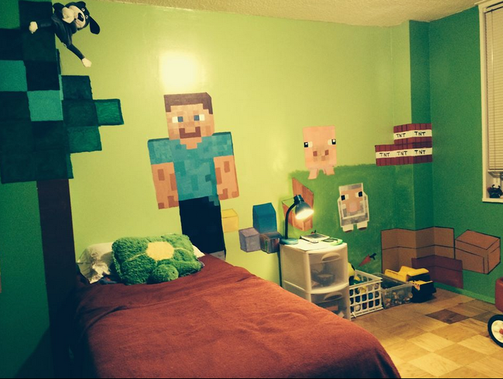 acrylic painting minecraft mural for my son, Lee