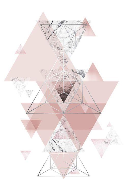 Blush Pink Marbled Geometric - Canvas Print