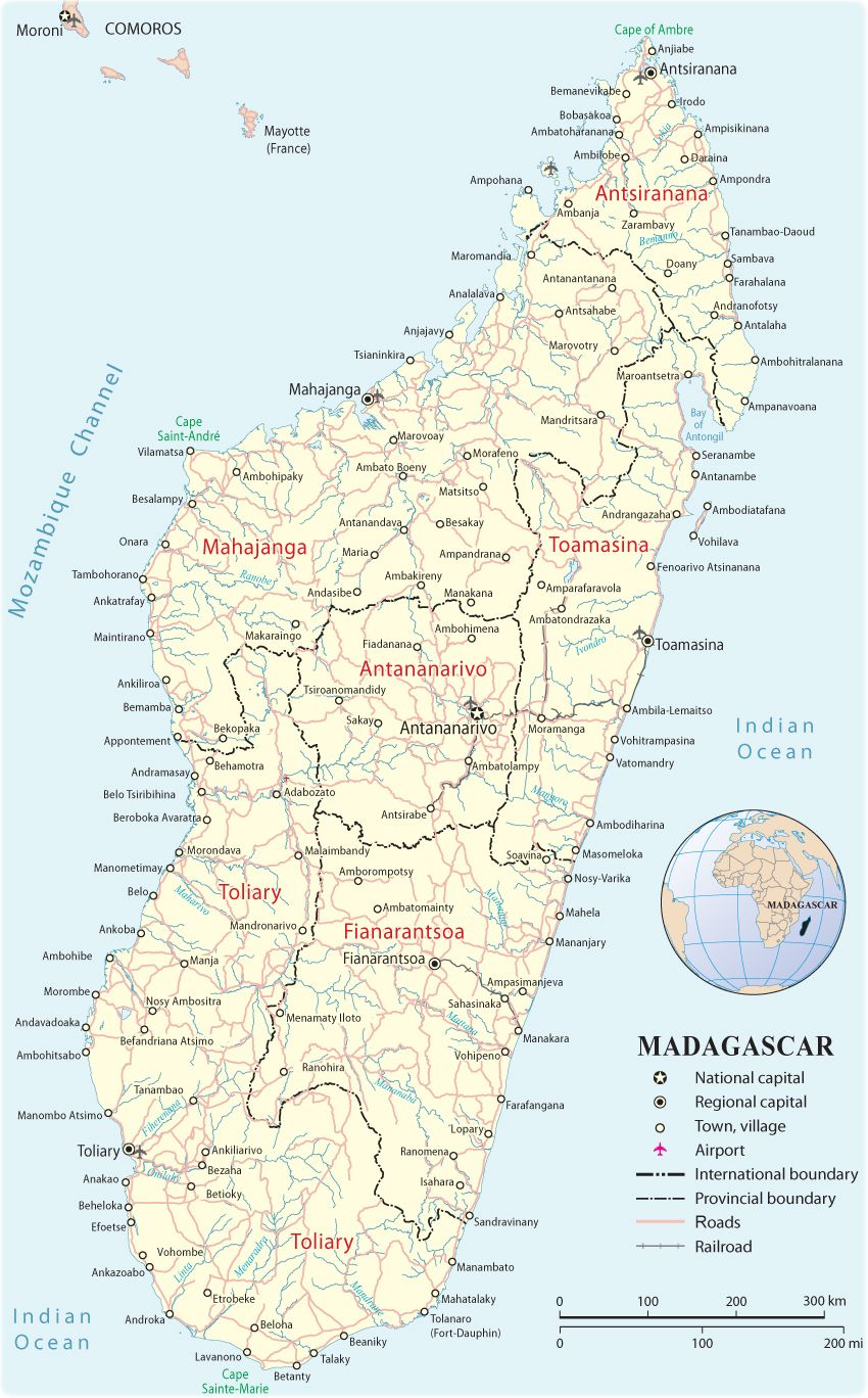 Madagascar - Map with airport cities | Madagascar in 2019 ...