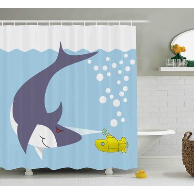Zoomie Kids Jerry Yellow Submarine Shark With Vessel Single Shower Curtain In 2019 Products Shower Curtain Sizes Yellow Submarine Yellow
