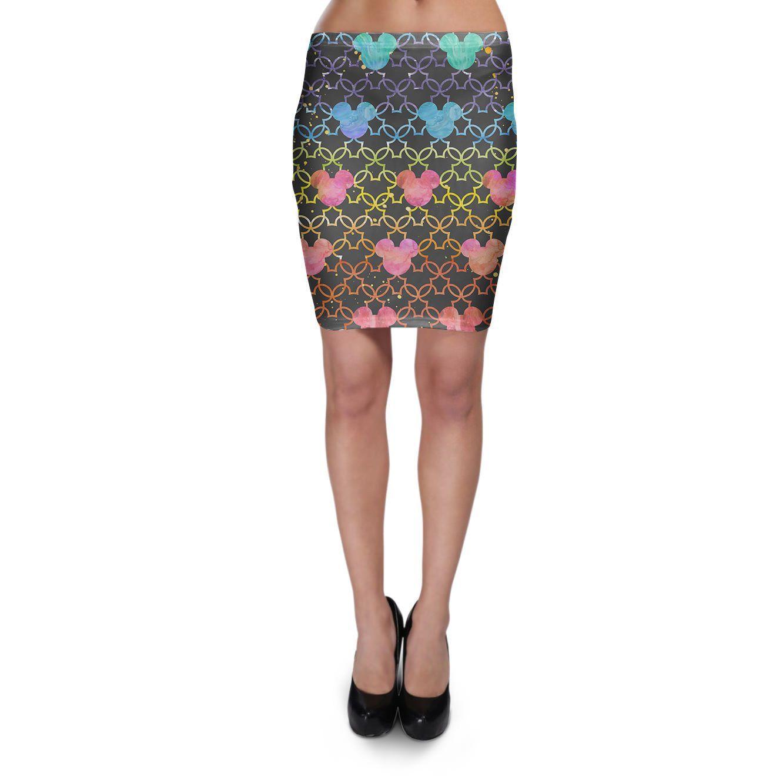 Mickey Mouse Watercolor Rainbow Dark Bodycon Skirt Xs-3Xl Stretch Short Skirt